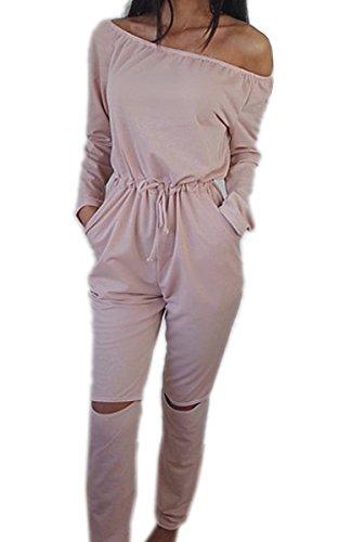 Ecowish Damen Langarm Sexy Hosenanzug Jumpsuit Elegant Lang Hosen Trägerlos Overall Rosa L