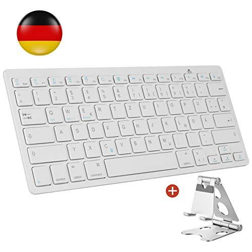 AGPTEK Kabellose Bluetooth Tastatur, Deutsches Bluetooth Tastatur (QWERTZ) mit Zusammenklappbarem Metall Ständer für Apple, iPad, Tablet, Handy, geeignet für iOS, Android, Windows Systeme - MEHRWEG
