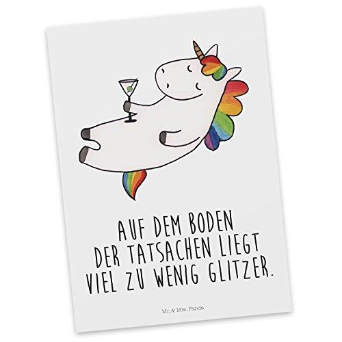 Mr. & Mrs. Panda Einladung, Grußkarte, Postkarte Einhorn Cocktail mit Spruch - Farbe Weiß