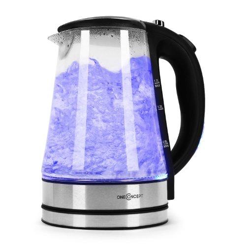 oneConcept Blue Lagoon Bollitore Elettrico senza fili con illuminazione interna a LED blu (indicatore di livello dell'acqua, struttura in vetro e acciaio, capacità 1,7 litri) - nero