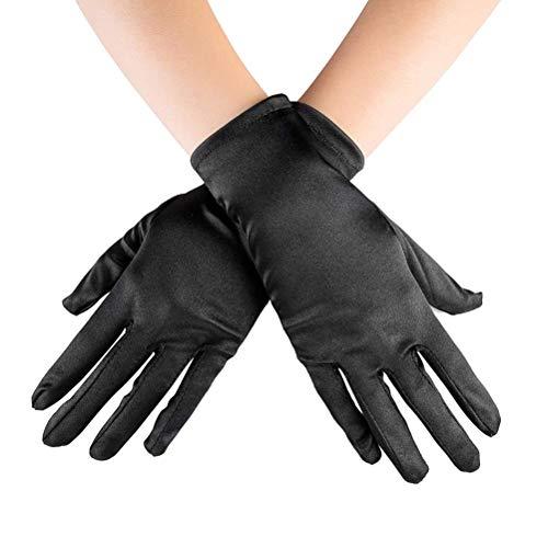 JMERY Kurze Satin-Handschuhe für Frauen Handgelenk Länge Oper, Hochzeit Kostüm Kleid Party Handschuhe - Schwarz -