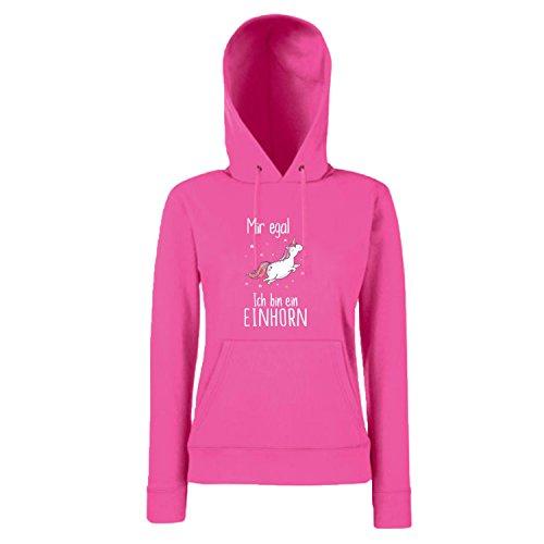 Shirt-Panda Einhorn Damen Mädchen Hoodie Mir egal ich Bin EIN Einhorn mit Unicorn Motiv Spruch Fun Cool Ladyfit Fuchsia S