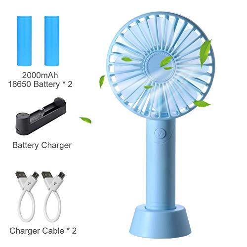 Mini Ventilatore USB Portatile - Silenzioso Aromatherapy Ventilatore con 2x 2000mAh Batteria Ricaricabile e Caricabatterie per Auto Casa Ufficio Viaggiare Campeggio - (3 velocità) Blu