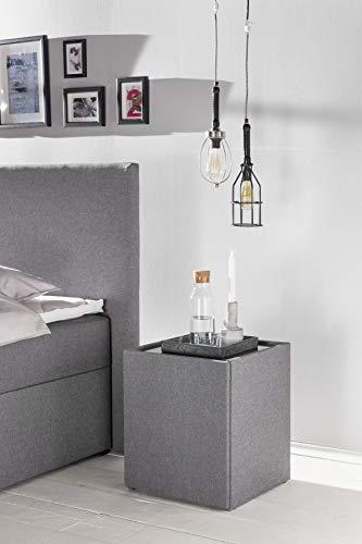 Furniture for Friends Möbelfreude® Nachtkonsole Nele Hellgrau   Nachttisch mit Glasplatte und Zwei Fächern   Idealer Nachtschrank für Boxspringbetten und Polsterbetten