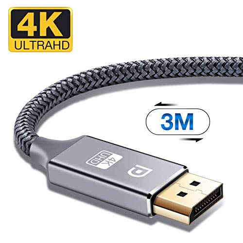 DisplayPort Kabel 3m 4K DisplayPort auf DisplayPort Kabel,ALCLAP DP zu DP Kabel(4K@60Hz,1440p@144Hz) Nylon Geflecht Ultra Highspeed DisplayPort-Kabel für PC,TV,Beamer,Monitor,Grafikkarten(3m,Grau)