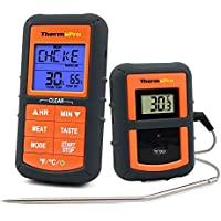 ThermoPro TP07 Barbecue Thermometer Funk Grillthermometer Bratenthermometer mit Timer für BBQ, Ofen, Smoker, Reichweite bis zu 100 Meter