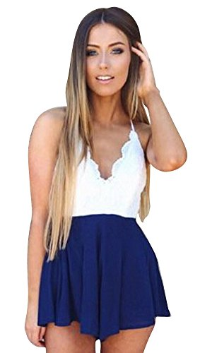 Molly Femmes Loisir Mince V Cou Bretelles Dos Nu Robes Chasubles De Femme Bleu