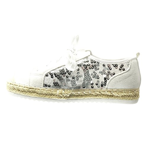 4e0065a3c75a31 ... Sneaker Damen Espadrilles Seil Ferse 5 Sneaker Weiß Schuhe Schuh  Fischnetz Material Glitzer cm Angkorly 2 ...