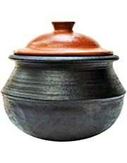 Craftsman India online LPG and Microwave Unglazed Clay Handi/Earthen Pot for Cooking (3 L, Black)