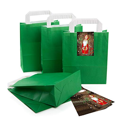 ac15b8b5d 50 De Kleine oscuro verde Papel de bolsa bolsa de regalo con asa suelo 18 x  8 x 22 cm + 50 pegatinas Santo Papá Noel Santa Rojo