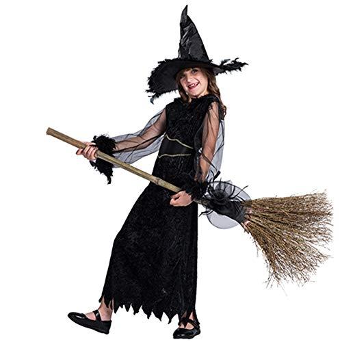 Kostüm Zauberer Hexe Von Der Kind Oz - ZXYSHOP Hexenkostüm Kindermädchen + Hexenhut Halloween Hexe Lila Schwarz,M