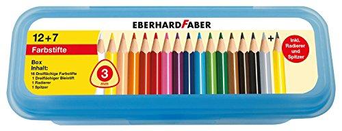 Eberhard Faber 511417 - 16 dreiflächige Buntstifte in Aufbewahrungsbox Inklusive Zubehör (Box Spitzer)