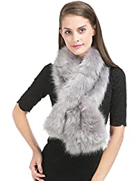 Saferin Donna Pelliccia artificiale Collare sciarpa per Inverno  Abbigliamento per Festa di Matrimonio 34eff22f016