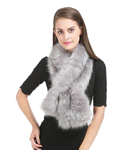 Saferin Falso invierno abrigo bufanda piel sintética