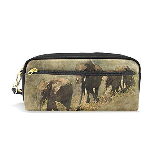 Eslifey - Estuche de piel sintética con diseño de elefantes para lápices...