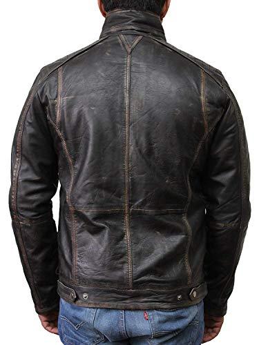 Vintage schwarze Herren Bikerjacke aus Leder (Large) - 4