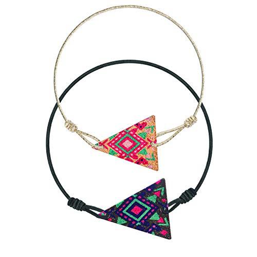 Made by Nami Armband Frauen Freundschaftsarmband Set Armbänder - Surfer Schmuck Damen mit Anhänger Set (Dreieck/Dreieck)