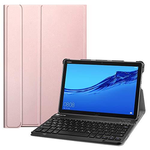 Fintie Huawei MediaPad M5 Lite 10 Bluetooth QWERTZ Tastatur Hülle - Ständer Schutzhülle mit Magnetisch Abnehmbarer Drahtloser Deutscher Bluetooth Tastatur für Huawei M5 Lite 10.1 Zoll, Roségold