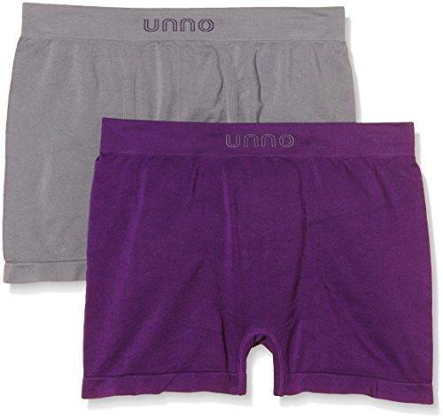 Unno AUUH101 - Boxer sin costuras microfibra para hombre, paquete de 2, color gris / berenjena, talla S