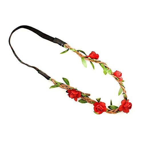 hen Rose Blumen-Stirnband Hochzeit Haarkranz Blumenkrone Festival Hochzeit Haarband Kopfband Haarkranz BOHO Blumenstirnband (Rot) (Blume-stirnband)