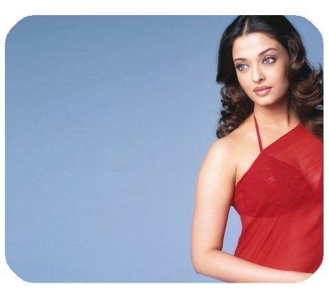 Aishwarya Rai Transparent Red Saree Mousepad Personalized Custom Mouse Pad Oblong Shaped In 9.84