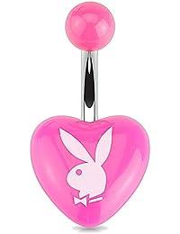 Playboy unisex curvado acrílico blanco Playboy Bunny corazón ombligo de acero inoxidable 1.6mm x 10mm pbnb 002