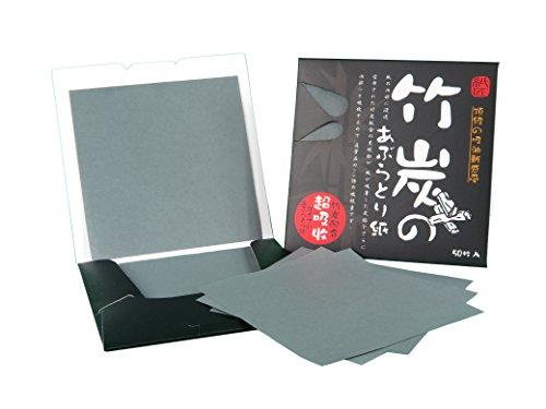 Gesichtsöl Löschpapier - Bambuskohle - oil control blotting paper - 8.3cm x 8.3cm, pack mit 50 Blätter (X1 pack)