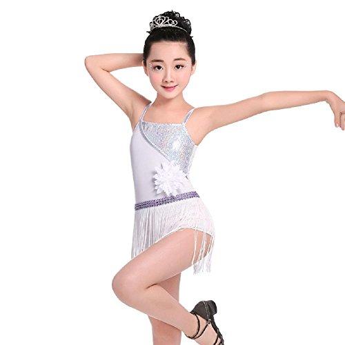 Kind Lateinischer Tanz Kostüme Mädchen Tanz-Outfit Harness Quastenrock Übungsdienst Performance-Bekleidung , white , 7xl (Tanz Performance Kostüme Zeitgenössische)