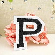 Parche bordado con la letra del alfabeto inglés, para coser o planchar P