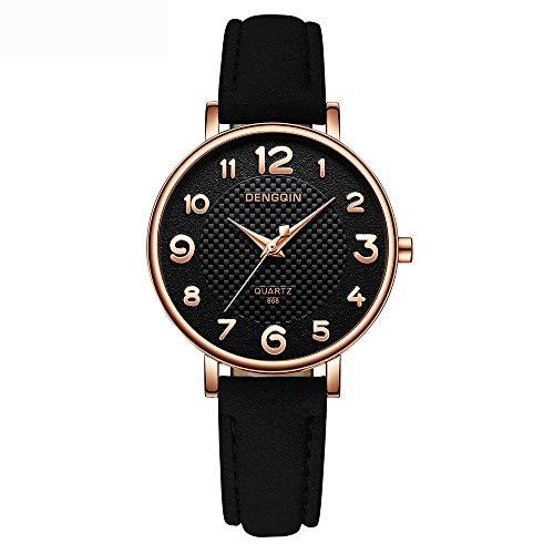 COOKDATE Damen Armbanduhr Quarz mit Lederarmband Ultra flach Schwarz