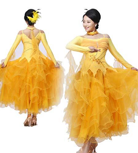 ZYLL National Standard Ballroom Dance, National Standard Ballroom Dance Kleider für Frauen Wettbewerb Waltz Tango Dance Performance Kostüm Great - Waltz Dance Kostüm