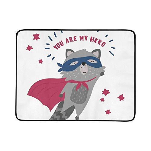 WYYWCY Nettes Waschbär-Superheld-Kostüm Sie Mein Muster tragbare und Faltbare Deckenmatte 60x78 Zoll-handliche Matte für kampierende Picknick-Strand-im Freienreise