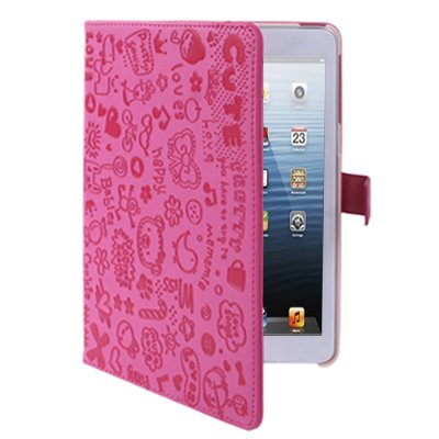 gada iPad Mini Leder-Imitat Tasche Case Cover Hülle 3G Wifi rosa pink weich love Blumen Girl style