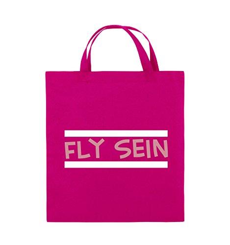 Comedy Bags - Fly sein - Jutebeutel - kurze Henkel - 38x42cm - Farbe: Schwarz / Weiss-Neongrün Pink / Rosa-Weiss
