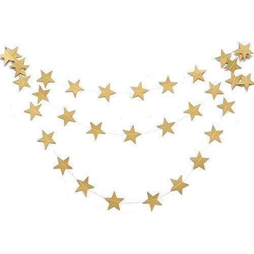 YXYP Decoración navideña Guirnalda Ornamento de la Estrella de Cinco Puntas de cartón Tire de la Flor de cumpleaños de la Fiesta de Navidad Ventana de la Cadena de Bander (Oro)