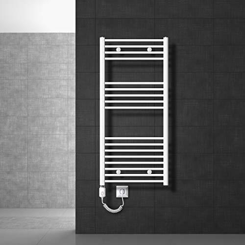 ECD Germany Badheizkörper Elektrisch 900W - 600 x 1200 mm - Weiß - gebogen mit Seitenanschluss - Heizkörper Handtuchwärmer Handtuchtrockner
