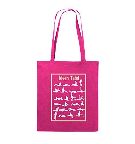 Comedy Bags - Ideen Tafel - SEXSTELLUNG - Jutebeutel - lange Henkel - 38x42cm - Farbe: Schwarz / Weiss-Neongrün Pink / Rosa-Weiss-Beige