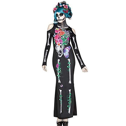 Luckydlc Weibliche Scary Halloween Tod Kostüm Braut Langarm Schwarz Scary Schädel Schädel Wild Dress Party Dekoration luckydlc (Color : Black, Size : - Schädel Braut Kostüm