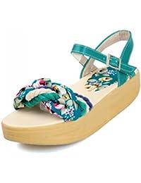 WEIQI-Zapatos de Playa Ocasionales de Las Vacaciones de Las Mujeres/Sandalias de la Sacudida/Sandalias Florales...