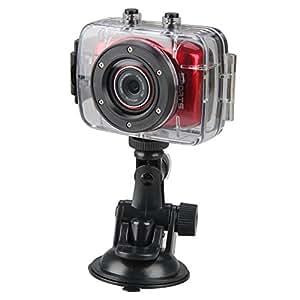 Pellor 720P HD Waterproof Mini DV Vehicle Traveling Data Camcorder Sports Action Helmet Camera - Red