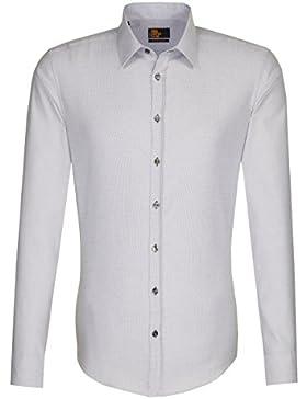 Seidensticker Herren Langarm Hemd UNO Super Slim Stretch blau strukturiert 573280.16