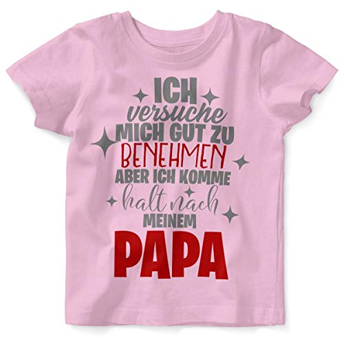 Mikalino Baby/Kinder T-Shirt mit Spruch für Jungen Mädchen Unisex Kurzarm Ich versuche Mich gut zu benehmen | handbedruckt in Deutschland | Handmade with Love, Farbe:rosa, Grösse:80/86