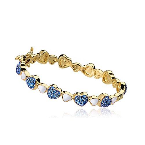Molly Glitz Girls cuore di gioielli placcati oro 14K cristalli alternati blu e bianco smalto braccialetto bracciale