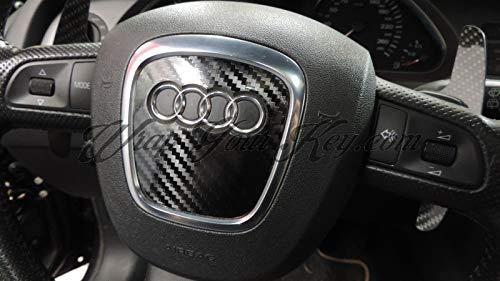 Lucido Fibra di Carbonio Nero Airbag Volante Telo Copertura Skin Adesiva Copertura per Audi A1, A2, A3, A4, A5, A6, A7, A8, Tt, Q2, Q3, Q5, Q7, Rs, S-LINE, Quattro