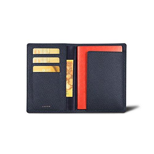 Lucrin - Porta pasaporte con tajetero a un lado - Azul marino - Piel d