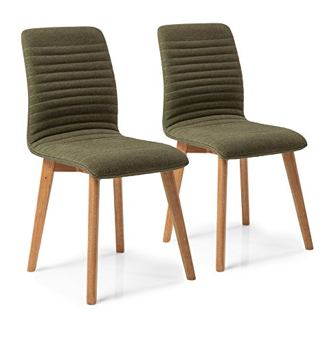 Kare Stuhl Lara 2er Set, 41229, bequemer, moderner Esszimmerstuhl im Retro Design, grün (H/B/T) 92x44x45cm