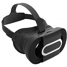 VR Headset, JoyGeek Portable Virtual Reality Lunettes Fold 3D VR Lunettes Google Cardboard V2.0 avec bandeau pour 4-6 pouces iPhone 7/7 Plus / 6/6 Plus / 5 / 5s / 5c / 4 et Android Samsung Nexus Huawei HTC MOTO Sony LG Smartphones (Noir)