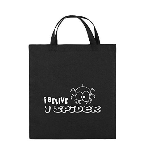 Comedy Bags - I BELIEVE I SPIDER - Jutebeutel - kurze Henkel - 38x42cm - Farbe: Schwarz / Silber Schwarz / Weiss