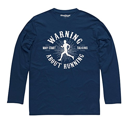 May Start Talking About Running Langarmshirt Funny Novelty Gift, Herren Dunkelblau
