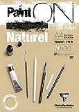 Clairefontaine 96540C Paint'ON Naturel bloc collé 30F 21x29,7cm 250g grain très léger Teinte Sablée